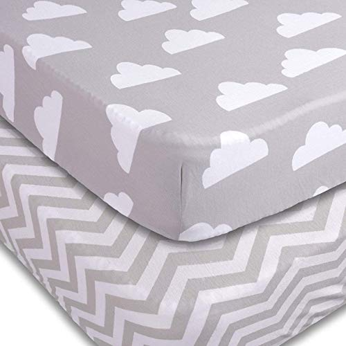 Playard Sheets, 2 Pack Cloud & Chevron Fitted Soft Jersey Cotton Playpen Bedding