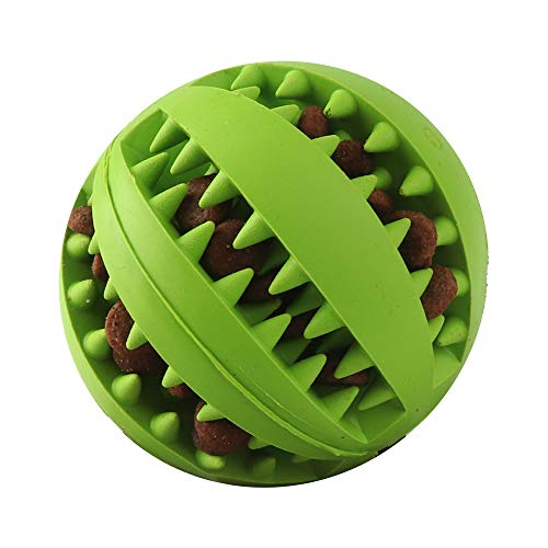 VECH Dog Chew Toys, Non-Toxic Rubber Dog Toy Ball for Pet Tooth Cleaning/Chewing/Playing, IQ Treat Ball for Medium and Large Dogs-Blue/Green