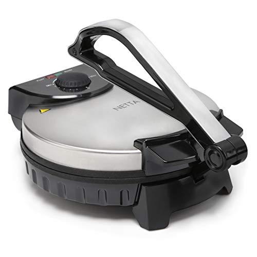 NETTA Roti Maker/Chapati Maker/avec contrôle de la température réglable et indicateur de lumière prêt - Plaque de cuisson Ø 25 cm – 10 pouces – 900 W – Acier inoxydable