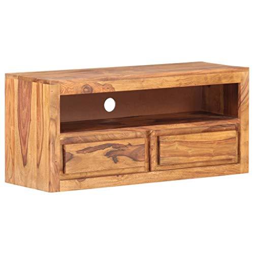 vidaXL Sheesham-Holz Massiv TV Schrank mit 2 Schubladen 1 Fach Lowboard TV Möbel Sideboard Fernsehtisch Fernsehschrank HiFi-Schrank 90x30x40cm