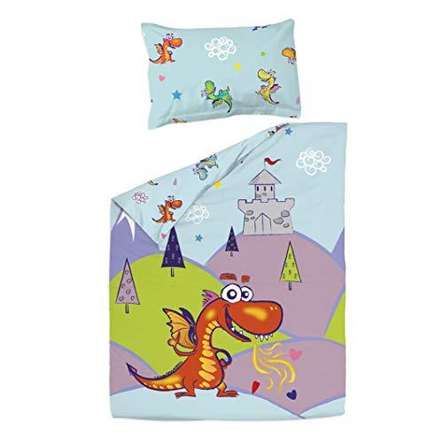 Dragons – PatiChou 100 % bomullssäng/spjälsäng set (påslakan & kuddfodral) 100 x 140 cm Flerfärgad
