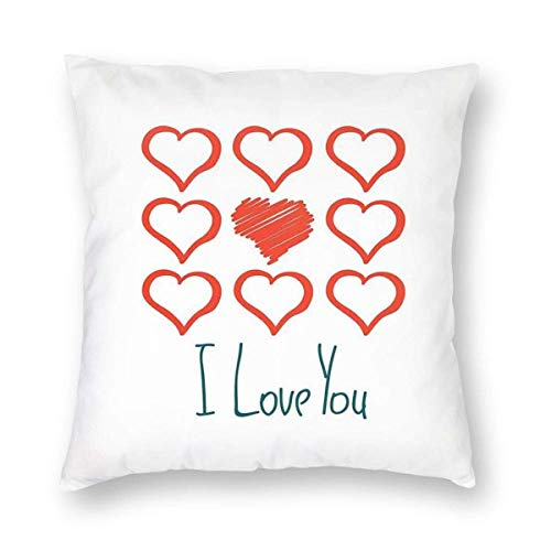 QUEMIN for Men Hand Drawn Style Red Hearts Set Scribble I Love You Lettering 18x18 Inch Two Sides Print Pillowcase Case Cushion Cover