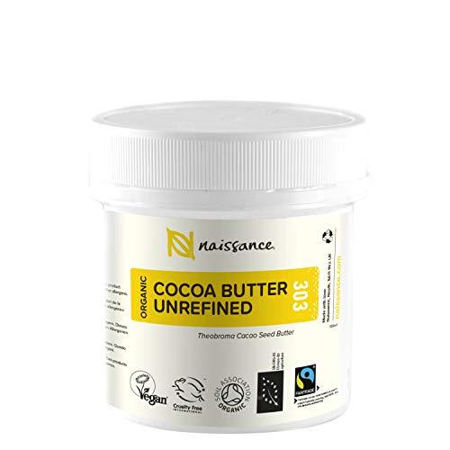 Naissance Manteca de Cacao BIO n. º 303 – 100g - Pura, natural, certificada ecológicamente, vegana, no OGM - Ideal para recetas cosméticas DIY.