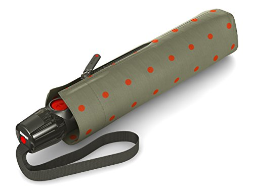 Knirps Taschenschirm T.200 Duomatic Dots – Auf-Zu-Automatik – Sturmfest – Windproof – Punkte-Design – Kelly Sand