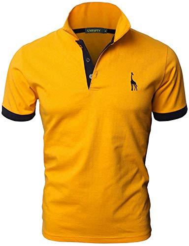 GNRSPTY Polo da Uomo Manica Corta Ricami Fulvi Golf Poloshirt Camicia Tennis T-Shirt Estate,Giallo,L