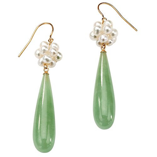 10K Yellow Gold Genuine Green Jade and Cultured Freshwater Pearl Drop...
