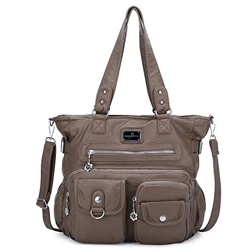 Women Handbags Shoulder Bags PU Leather Satchel Tote Bag Mutipocket Purse (Xs160500#8521#120khaki)