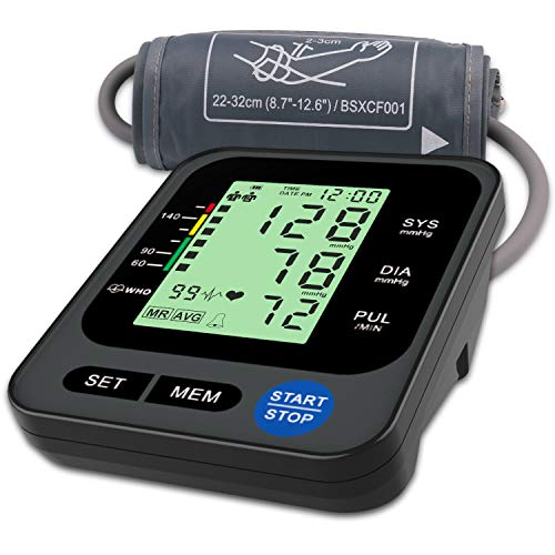 Upper Arm Blood Pressure Monitor, Clinically-Accurate BP Monitor, Automatic Digital Blood Pressure Monitor with Large Backlit Display Screen for Home Use