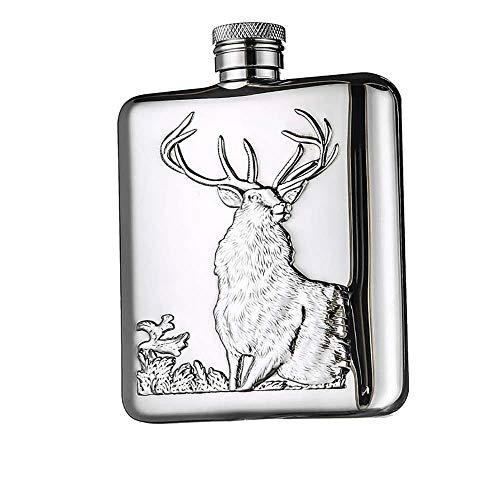 LQLQL Frasco de Cadera 6 oz Oso Polar Alivio de toros Acero Inoxidable de Grado alimenticio Juego de frascos de 6 oz con Caja de Regalo para Licor de Whisky, Ciervo