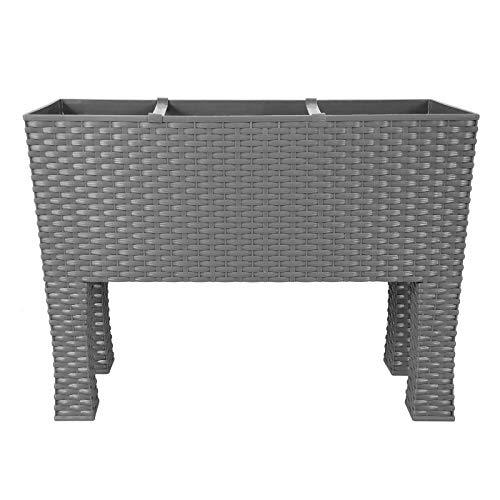 CrazyGadget® - Mesa de cultivo de ratán sintético para interior y exterior, tamaño grande, con patas y sistema de riego, 30 L, plástico, blanco, 30 L