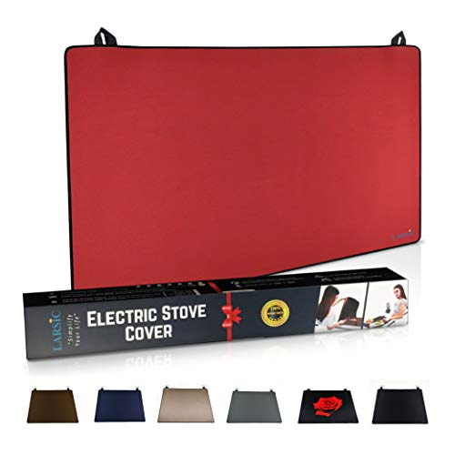 Larsic Stove Cover - Thick Natural Rubber Sheet Protects Electric Stove Top. Anti-Slip Coating, Waterproof, Heat Resistant, Foldable. Prevents Scratching, Expands Usable Space (31X24, Red)