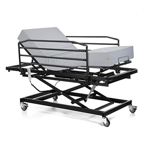 Ferlex - Cama articulada con Carro Elevador | Colchón Sanitario viscoelástico | Barandillas abatibles (90x190)