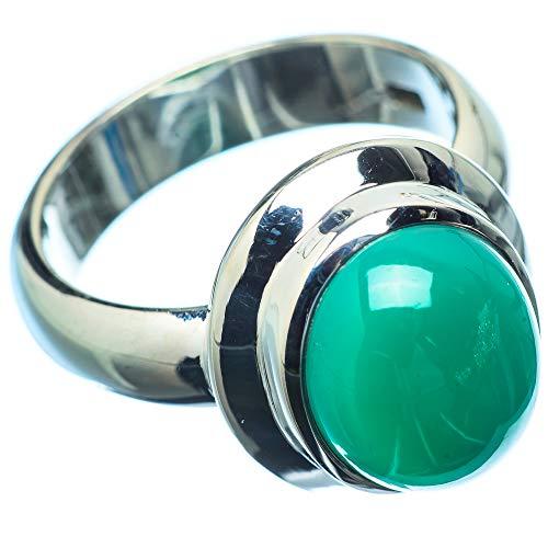 Green Onyx, Grüner Onyx 925 Sterling Silber Ring 7.75