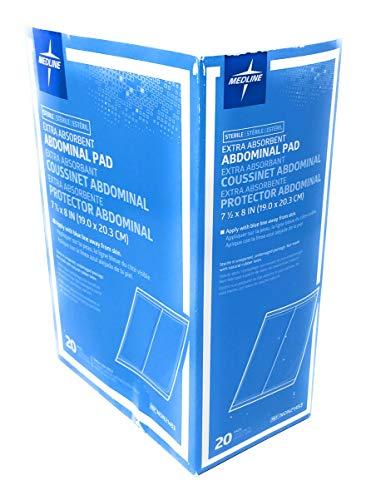 Medline Medline Abdominal (abd) sterile 8x7.5 Pads - Box of 20 Pads, 13.6 Ounce