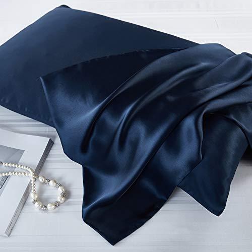 FLCA Funda de almohada de seda de morera 100% para cabello y piel, ambos lados de seda de morera, 1 pieza (azul marino, estándar 50 x 75 cm)