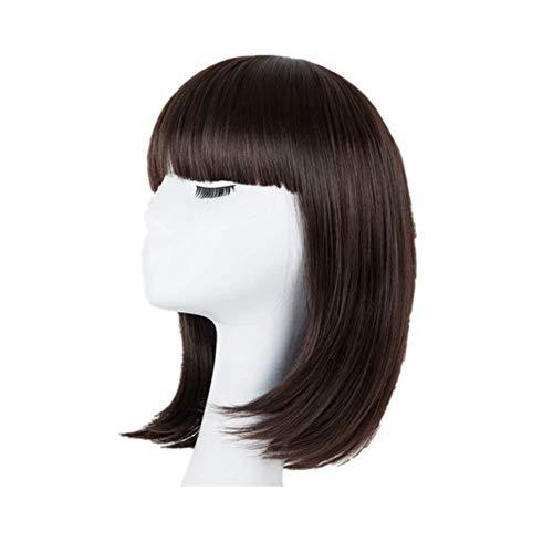 DGHJK Perruques de Vrais Cheveux pour Les Femmes Blonde synthétique résistant à la Chaleur Courte Perruque ondulée Costume Party Femmes étudiantes Cheveux Fantaisie Robe Perruques