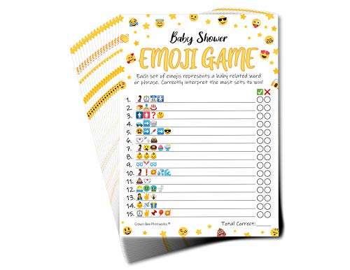 Baby Shower Games - Emoji Pictionary Baby Shower Game - Pack of 50 with Answer Sheet - Fun Guessing Game for Boy or Girl Baby Shower, Coed Baby Shower, Gender Neutral Baby Shower