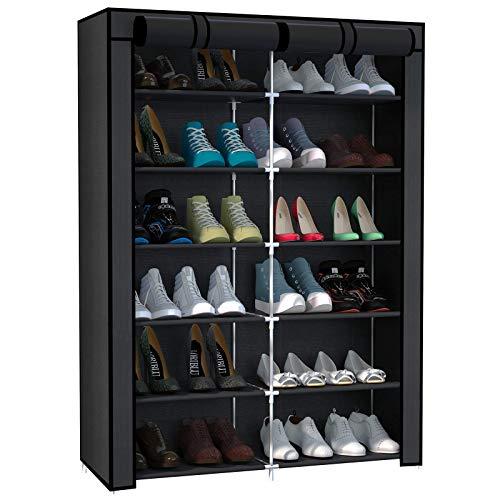 Rocorose Zapatero con 6 capas, tubo galvanizado, resistente al polvo, para 24 pares de zapatos, aprox. 32,28 x 11,2 x 41,7 pulgadas, color negro