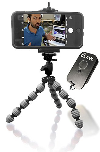Flexible Tripod Best for iPhone 8 X 7 6 5 CellMount USB Rechargeable Remote for iOS. Locking Head Compact Bendable Camera Video Vlogger Selfie The CLAW