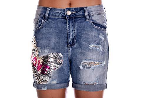 Monday - Bermudas prémium con pantalones cortos y lentejuelas azul 38