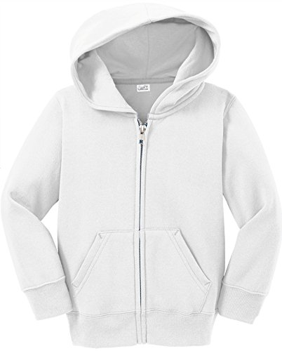 Joe's USA Infant Full Zip Hoodies - Soft and Cozy Hooded Sweatshirts, White, 12M