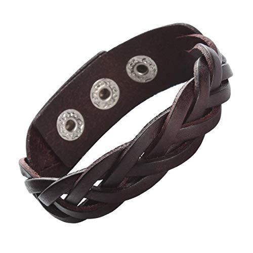 CCBFY Genuine Leather Bracelet Braided Sporty Wide Wristband Punk Jewelry for Men Women Brown