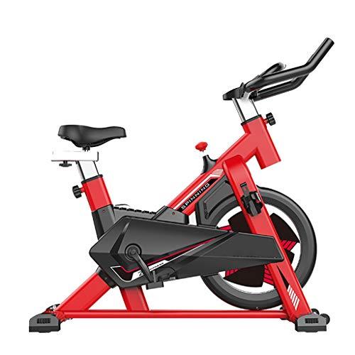 GZ Ciclismo Indoor Bike Bicicletas Bicicletas de Spinning Silencio Ejercicio con Envuelta Completamente Digital sostenedor del Reloj del Volante Cardio Fitness Equipment fácil de Mover (Color : Red)