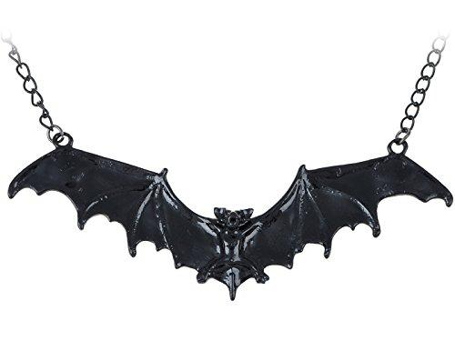 ALILANG Frightening Halloween Enamel Paint Flying Bat Metal Chain Pendant Necklace, Black