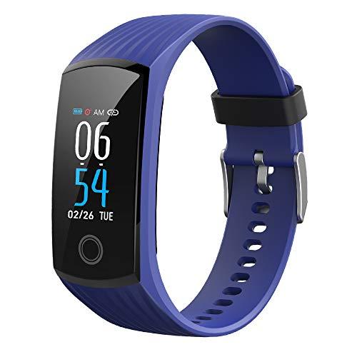 Slimme Gezondheidscontrole Van Het Kleurenscherm Van De Armband Ondersteunt De Aandacht Van De Familie Op Afstand IP68 Waterdichte Sportarmband,Blue