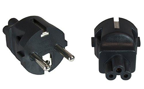 Adapter: Schutzkontaktstecker Typ E+F auf Mickeymaus-Buchse. Stromadapter. Schutzkontaktadapter. CEE 7/7-C5