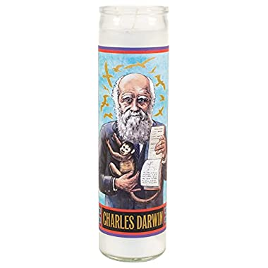 The Unemployed Philosophers Guild Charles Darwin Secular Saint Candle - 8.5 Inch Glass Prayer Votive - Made in the USA