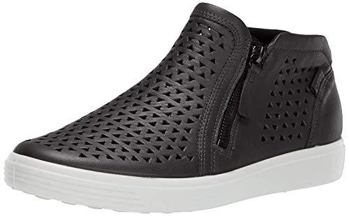 ECCO Women's Soft 7 Laser Cut Bootie Sneaker, Black, 8-8.5