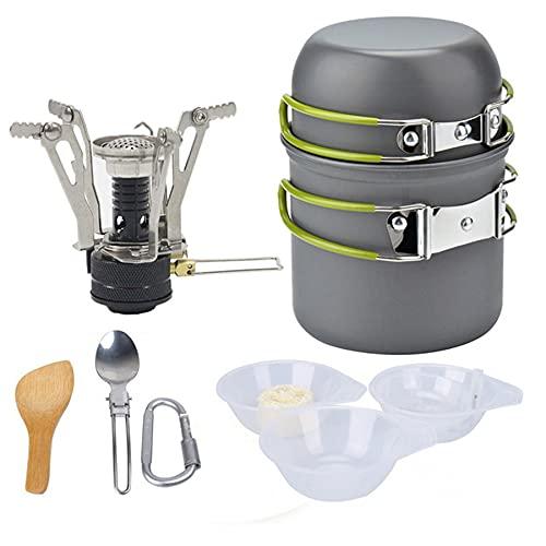FLZXSQC Kit De Artículos Diversos De Utensilios De Cocina para Acampar con Mini Estufa, Juego De Olla De Camping Plegable Y Liviana De Aluminio, Adecuado para Picnic De Campamento