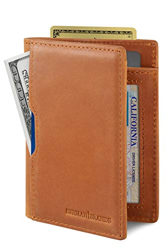 SERMAN BRANDS - Wallets for Men Slim Mens leather RFID Blocking Minimalist Card Front Pocket Bifold Travel Thin (California Desert 5.0)