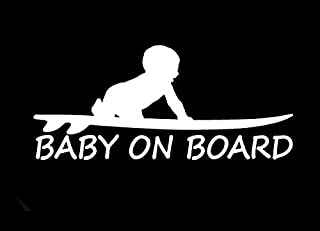 CCI Baby On Board Surf Funny Decal Vinyl Sticker|Cars Trucks Vans Walls Laptop|White |3.0 x 6.5 in|CCI1655