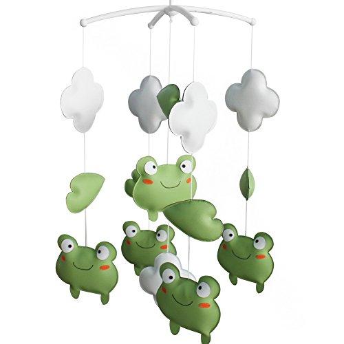 Handmade Baby Bedding Musical Mobile Toddler Hanging Musical Box Toy Christmas Gift Green Frog