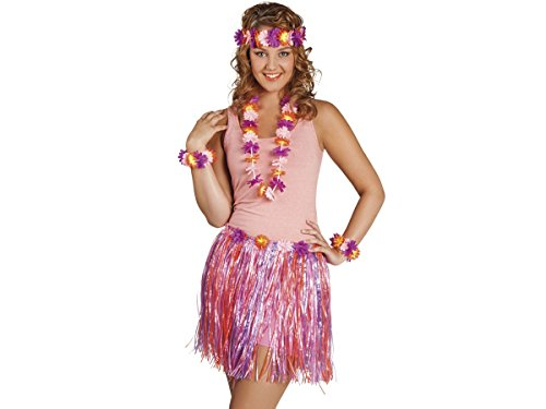 Alsino Hawaii Kiki Set 52430 Hawaiiparty Beachparty Hula Bastrock Lei Set 5-teilig