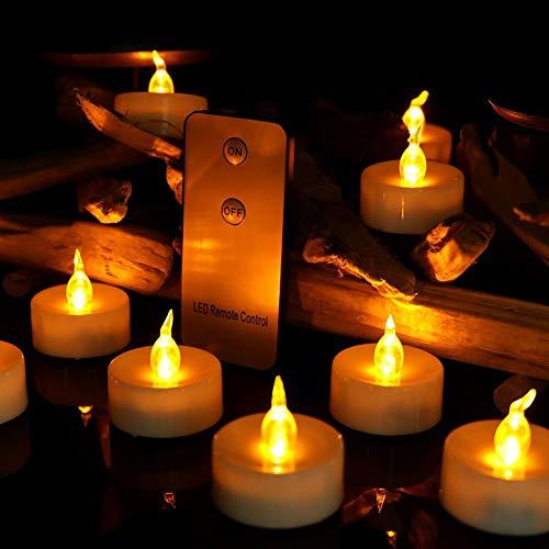 LED Kerzen, Venkaite 12er Set Flammenlose Kerzen Weihnachten LED Teelichter Elektrische Kerze Lichter mit Fernbedienung für Halloween, Weihnachten, Party, Bar, Hochzeit (Flicker Gelb)