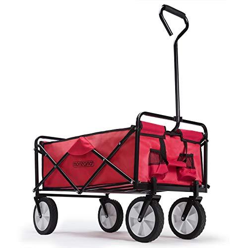 Deuba Charrette de Transport Pliable à Main Rouge - Pliable - Chariot Transport Bricolage