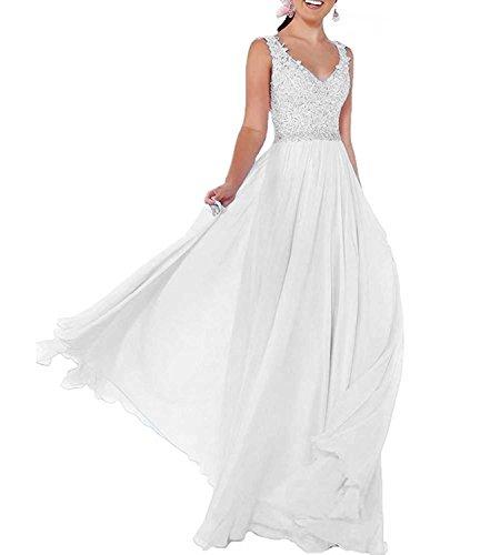 Beyonddress Damen Chiffon Abendkleider Lang Hochzeit V-Ausschnitt Brautkleid Ballkleider Brautjungfern Kleider(Weiß,46)
