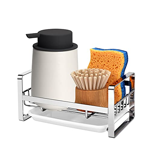 Vanten Kitchen Sink Caddy Organizer, Sponge Holder for Sink, Sink Tray Drainer Rack, Dish Rags Brush Soap Storage Countertop with Removable Front Drain Pan (Not Including Dispenser and Sponge)