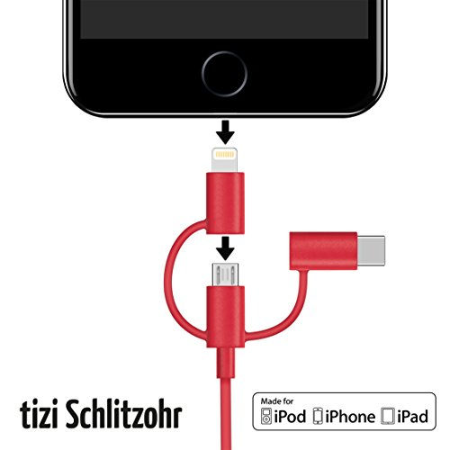 equinux tizi Schlitzohr - USB-C, Lightning und Micro-USB Multikabel (1m, rot) Ladekabel Apple MFi Zertifiziert, perfekt für iPhone X, iPhone 8, iPhone 8 Plus, iPhone 7, iPhone 6S, iPad, iPad Pro