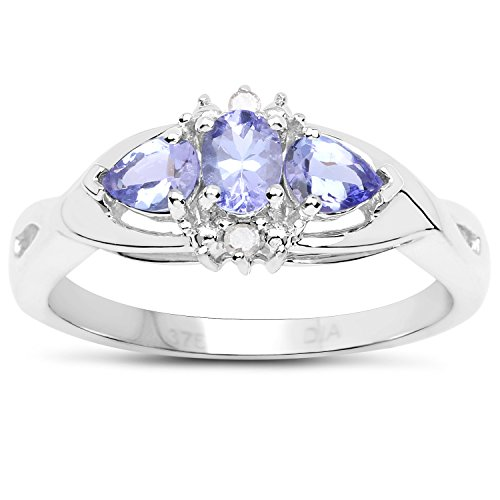 The Tanzanite Ring Collection: 9ct White Gold Tanzanite & Diamond Engagement Ring (Size V)
