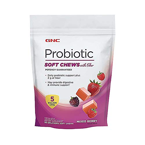 GNC Probiotic Soft Chews with Fiber - Mixed Berry, 30 Chews, Supports Digestive and Immune Health