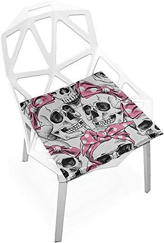 Mesllings - Cojín de asiento con diseño de calavera y diseño de calavera rosa suave antideslizante de espuma viscoelástica para silla de asiento para casa, cocina, oficina, escritorio de 38 x 35 cm