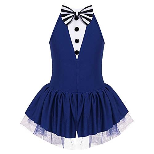iiniim Maillot Vestido de Danza Ballet Lentejuelas para Nia Body de Baile Fiesta sin Mangas Tut de Danza Brillante sin Hombros Disfraz Bailarina Elegante Azul Marino 14 aos