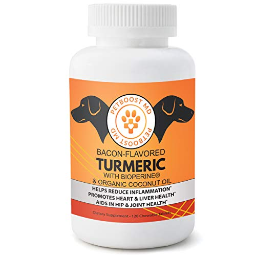 PetBoostMD Bacon-Flavored Pet Turmeric Curcumin for Dogs with Organic Coconut Oil & BioPerine for Hip & Joint Support  Heart & Liver Health – 120 Chews  Nutritional Supplements for Pets