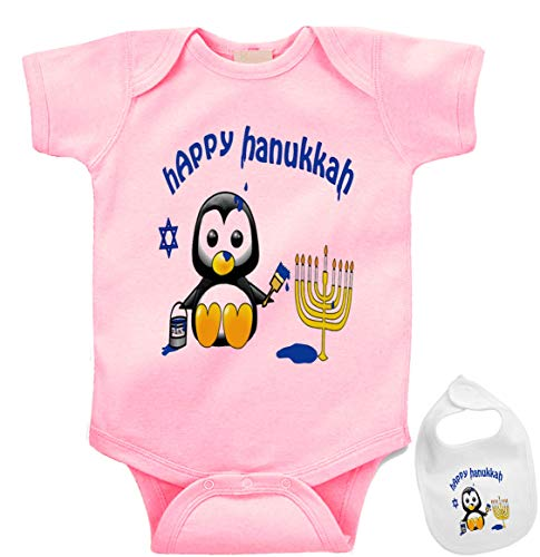 Igloo Happy Hanukkah -Cute Jewish Holiday Baby Bodysuit Onesie & bib Outfit (5 Colors) Pink