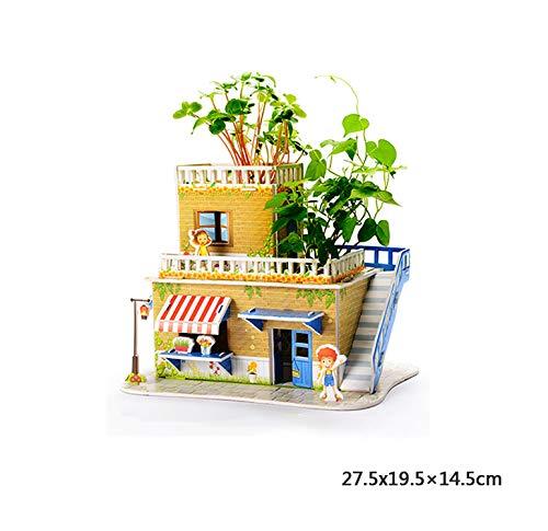 Plantenraadsels, creatieve geschenken, eenvoudig te bouwen, inclusief aarde, zaden en handleiding (mogelijk niet beschikbaar in het Nederlands), leuk pedagogisch cadeau voor kinderen. modern size 2-storeyhoed