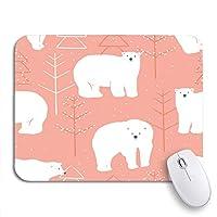 ECOMAOMI 可愛いマウスパッド ピンククリスマス冬パターン白ホッキョクグマ赤かわいい滑り止めゴムバッキングコンピューターマウスパッドノートブックマウスマット
